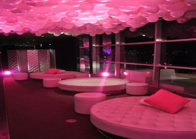 pink lounge and balloons