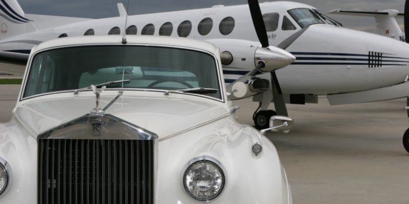 plane and car, both white