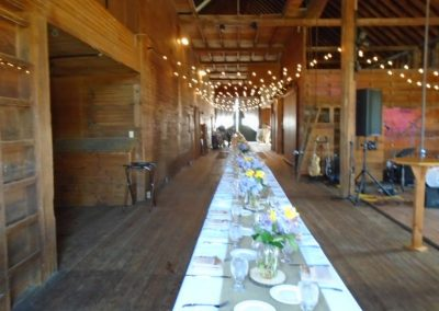 long table set and decorated
